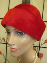 Vtg 50s Saks 5th Ave RED FUR FELT CROWN Wide Cuff Beehive Dress Party Hat W Ger