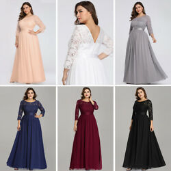 US Ever-Pretty Plus Size Lace Sleeve Long Bridesmaid Dress Homecoming Party Gown $43.99