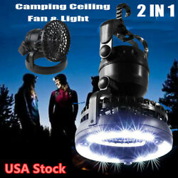 2 In 1 Outdoor Camping Ceiling Fan Light 18LED Lamp Hanging Tent Lamp Lantern US