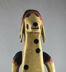 Hand Carved Vintage Wooden Dog Painted Jointed Folk Art Farmhouse Rustic Decor