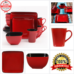 Dinnerware Set Serving Dishes Plate Mug Bowl Service 16 Piece RED Bold Color