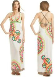 $164 Trina Turk Carnaval Print Halter Stretch Jersey Maxi Long Cover Up Dress M $106.25