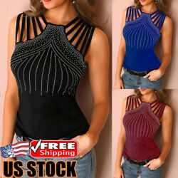 Womens Sexy Sleeveless Halter Tank Tops T Shirt Ladies Hollow Casual Vest Blouse