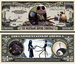 NIGHTMARE BEFORE CHRISTMAS Novelty Dollar Bill comes In a Free Soft Polly $1.00
