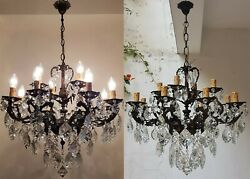 Matching Pair Antique Vintage 8+4 Arms Cast Brass & Crystals Cherub Chandelier