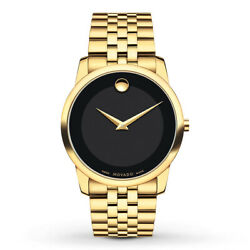 NEW Movado Museum 0606997 Black Dial Gold-Tone Mens Watch Swiss Quartz 40MM