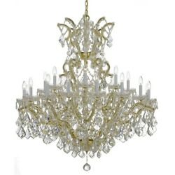 Crystorama Maria Theresa 25 Lt Spectra Crystal Gold Chandelier - 4424-GD-CL-SAQ