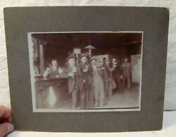 Antique Photo Saloon Interior Gents Raising Their Glasses Father Time Whiskey