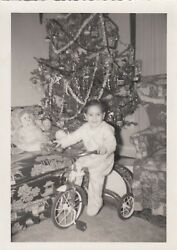 Vintage Christmas Photo Cute Boy Riding Tricycle With Toys By Decorated Tree $2.99