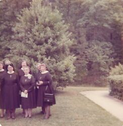 Vintage Photo Bad Crop Out Of Frame Nuns Posing Religious Ladies Church Snapshot
