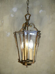 NOBLE OLD BRONZE 3 LIGHT LANTERN SOLID CEILING LAMP CHANDELIER CUT GLASS $455.00