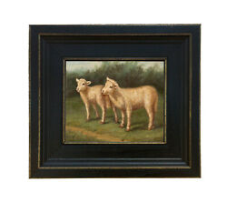 Framed Lambs Arthur Tait Painting Print on Canvas Farmhouse Decor Sheep Animal $50.00
