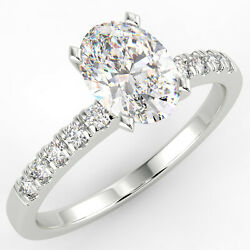 1 Ct Oval Cut VS1E Solitaire Pave Diamond Engagement Ring 14K White Gold