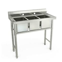 39quot; Wide 3 Compartment Stainless Steel Commercial Bar Sink Kitchen Sink Silver