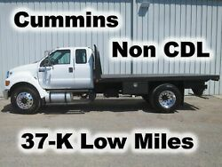 F750 CUMMINS AUTOMATIC EXTENDED CAB 14FT FLAT BED BODY HAUL TRUCK 37-K MILES