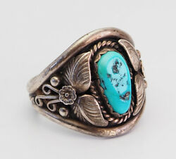 Gorgeous large turquoise sterling silver Native American men ring sz 12 by LH