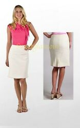 $158 Lilly Pulitzer Fenmore Cameo White Palm Beach Boucle pencil Skirt 8 $67.50