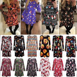 Women's Christmas Theme Long Sleeve Mini Dress Party Xmas Swing Skater Dresses