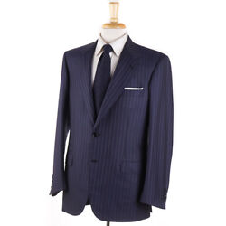 NWT $7700 BRIONI Navy and Sky Blue Stripe Super 180s Wool Suit 40 R $2395.00