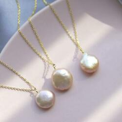 1PCS 14-15mm Pink Baroque Pearl Pendant Necklace 18 inches Women Accessories