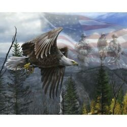 Free Like An Eagle Patriotic Military Soldiers Cotton Fabric Panel