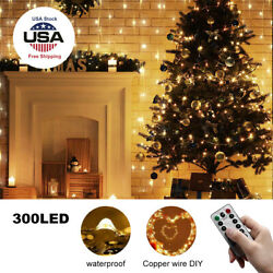 300LED Curtain Fairy Lights USB Party Wedding String Light Home wRemote Control