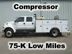 F750 CUMMINS 4 DOOR CREW CAB 11-FT UTILITY SERVICE COMPRESSOR TRUCK 75-K LOW MI.