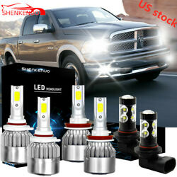 Combo H11 9005 9145 LED Headlights Bulb+Fog Lights for Dodge Ram 1500 2500 3500