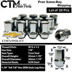 20PC CHEVROLET OEM FACTORY CHROME 14X1.5 WHEEL LUG NUTS CONICAL SEAT FOR CHEVY