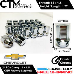 24PC CHEVROLET OEM FACTORY CHROME 14X1.5 WHEEL LUG NUTS CONICAL SEAT FOR CHEVY