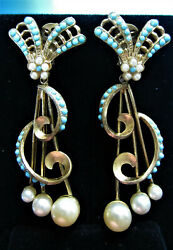 GORGEOUS ANTIQUE SEED PEARL & TURQUOISE SWIRL GOLD PLATE DANGLE EARRINGS AD0