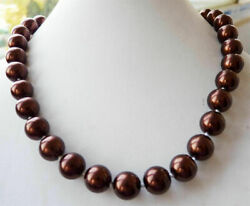 8mm 10mm 12mm AAA Chocolate South Sea Shell Pearl Round Gems Beads Necklace 18