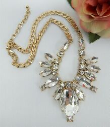 GOLD TONE & CLEAR CRYSTAL STATEMENT NECKLACE 18
