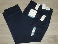 Dockers Easy Khaki Pants Classic Fit Pleated Stretch No Wrinkle Navy Blue NWT
