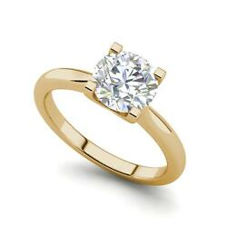 4 claw Solitaire 2.5 Carat VS2D Round Cut Diamond Engagement Ring Yellow Gold