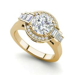 Halo Solitaire 2.55 Carat VS1H Round Cut Diamond Engagement Ring Yellow Gold