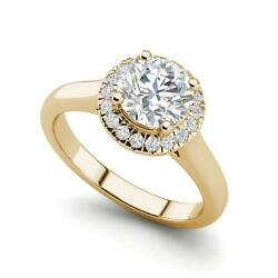 Halo Solitaire 2.65 Carat VS2D Round Cut Diamond Engagement Ring Yellow Gold