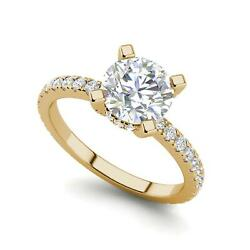 French Pave 2.5 Carat VVS2F Round Cut Diamond Engagement Ring Yellow Gold
