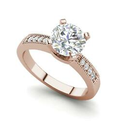 Cathedral 2.15 Carat VS2D Round Cut Diamond Engagement Ring Rose Gold