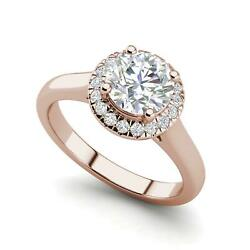 Halo Solitaire 2.65 Carat VS2D Round Cut Diamond Engagement Ring Rose Gold