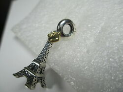 NEW AUTHENTIC PANDORA EIFFEL TOWER CHARM STERLING SILVER & 14K GOLD  #791302