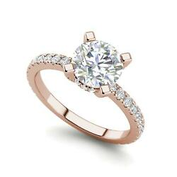 French Pave 2.5 Carat VVS2F Round Cut Diamond Engagement Ring Rose Gold