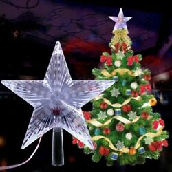 LED Light Up Christmas Tree Topper Star Tree Ornaments Party Home Decor New Year $12.85