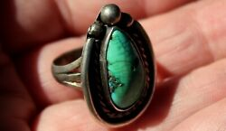 Gorgeous Old Pawn Navajo Sterling Silver & Turquoise Stone Ring