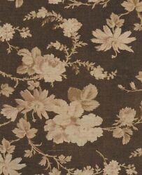 Antique Fabric 1870 Twill Brown and Cream Rambling Roses $25.00