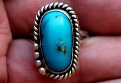 Gorgeous Vintage Small Navajo Sterling Silver & Blue Turquoise Stone Ring