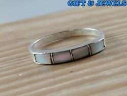 STERLING SILVER 925 MOTHER OF PEARL BAND RING SZ 6 1.3 G #ae075