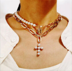 1pcs Multilayer Women Gold Coin Cross Pendant Pearls Choker Necklaces Jewelry