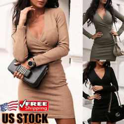 Women's Long Sleeve Bodycon V-Neck Evening Party Cocktail Club Short Mini Dress