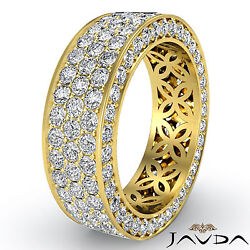 3 Row Womens Anniversary Band 18k Yellow Gold Pave Eternity Ring Diamond 2.75Ct